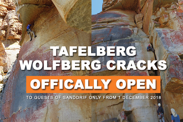 UPDATE: Tafelberg and Wolfberg Cracks in the Cederberg is now officially OPEN!